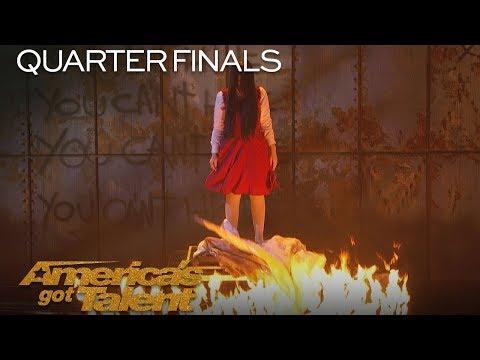 The Sacred Riana: Magician Scales Wall, Summons Terrifying Look-alikes - America's Got Talent 2018 (видео)