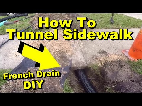 How to Tunnel a Sidewalk, French Drain Pipe Under Walk with Pop Up Emmiter mp3 yukle - mp3.DINAMIK.az