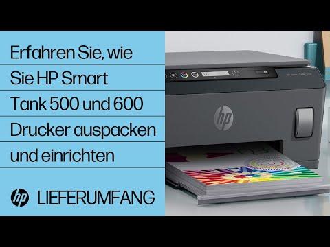 Hier erfahren Sie, wie Sie HP Smart Tank 500 und 600 Drucker auspacken und einrichten