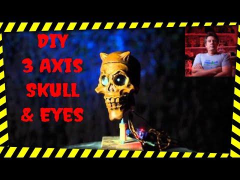 DIY 3 Axis Animatronic Skull with Electronic Eyes