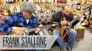 """Frank Stallone and Mark Agnesi playing Joe Bonamassa""""s Epiphone Amos Korina Flying V"""