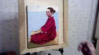 ПОРТРЕТ МАСЛОМ ЗА 7 МИНУТ!!! Девушка в красном платье