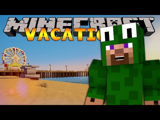 Minecraft Vacation - SURFING AND BUILDING SAND CASTLES!