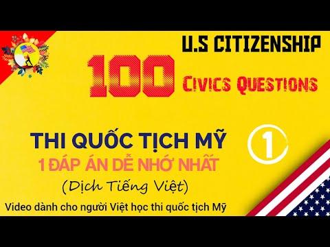 THI QUỐC TỊCH MỸ || 100 CIVICS QUESTION || 1 ĐÁP ÁN DỄ NHỚ ||100 CÂU HỎI || US CITIZENSHIP TEST