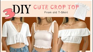 3 DIY CUTE CROP TOP From T-Shirt - Refashion Old T-Shirt Into Cute Crop Top