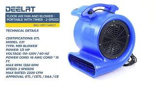 Floor Air Fan and Blower - Portable with Timer - 2-Speed