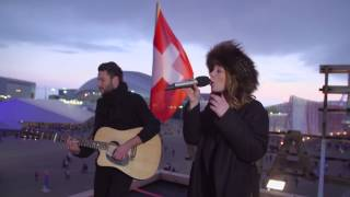 Anna Rossinelli on the roof of the House of Switzerland