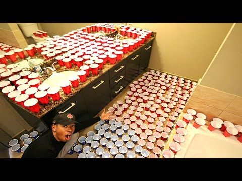 BATHROOM PRANK ON GIRLFRIEND (2,000+ CUPS)