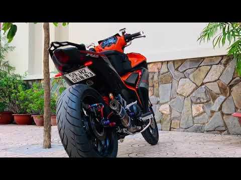 Exciter 155 độ bánh lớn - Mâm R3 bản 5.0 Lốp 180, Gấp KTM 250, Pô titanium Malaysia