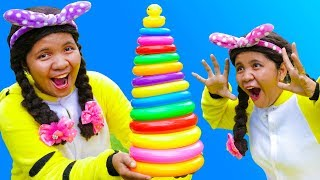 Learn Colors with Stacking Rings Finger Family Song Nursery Rhymes for Kids