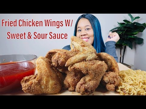 FRIED CHICKEN WINGS MUKBANG WITH SWEET & SOUR SAUCE