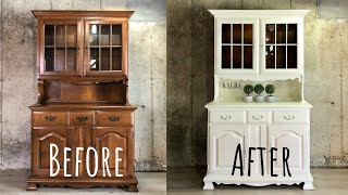 Low Budget Chalk Paint Makeover / The Waverly White Hutch