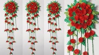 Diy Paper Flowers Wall Art 🌺 Origami Flower Rose Home Decor Idea 🌷 Homemade Wall Hanging Craft