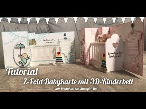[Tutorial] #2 - Z-Fold Babykarte mit 3D-Kinderbett mit Produkten von Stampin' Up!