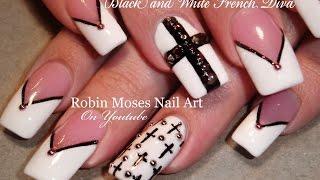 Black And White Nails | Chevron Tips & Crosses Nail Art Design Tutorial