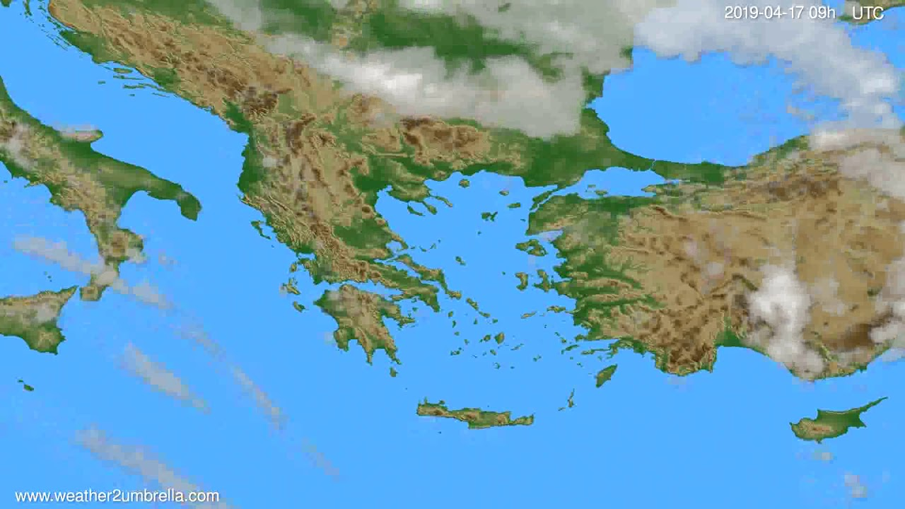 Cloud forecast Greece // modelrun: 12h UTC 2019-04-15