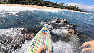 Surfing Through Rocks POV Full Experience