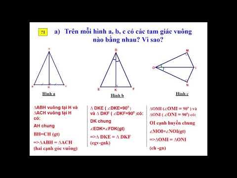 Toán 7 (Hình): Các trường hợp bằng nhau của tam giác