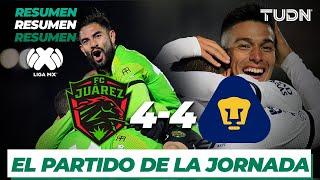 Pumas empató ante FC Juárez en un partido que tuvo un increíble número de goles