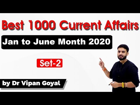 1000 Best Current Affairs of last 6 months in Hindi Set 2 - January to June 2020 by Dr Vipan Goyal