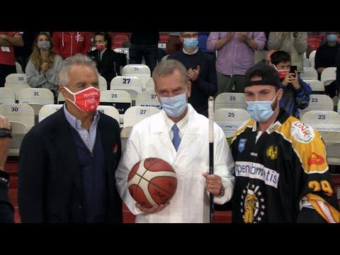 L'omaggio di Pallacanestro Varese e Mastini Hockey e chi lotta contro il Covid