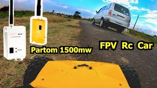 Long Range Rc Car FPV with Partom 1500mw Transmitter and MFD Link UHF Radio System Ground Range Test