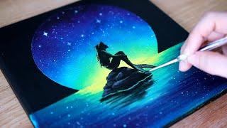 Acrylic Painting | Moonlight Mermaid | Black Canvas Painting Tutorial For Beginners #90