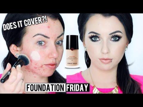 GIORGIO ARMANI POWER FABRIC HIGH COVER Foundation {First Impression Review & Demo!} Acne/Fair Skin