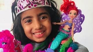 Princess Ariel & Princess Grace -Under the sea carriage Mermaid Toy &book Disney The Little Mermaid