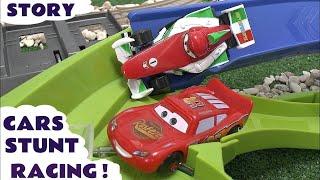 Lightning McQueen Disney Pixar Cars Stunt Race Cars 2 Speedway Story Spider-Man Spongebob Judges