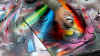 Technically perfect spray painting in Rome, Italy - HD720p