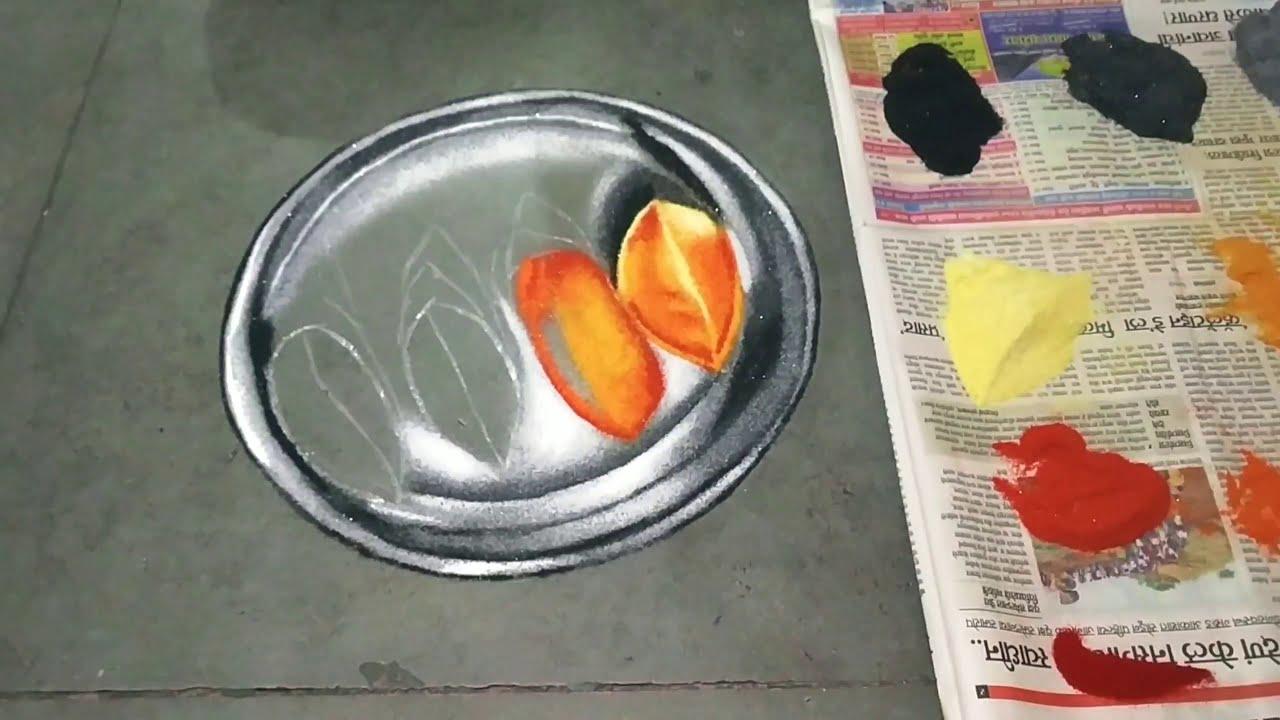 beautiful 3d rangoli mango on a plate by jyoti