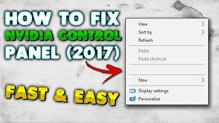 HOW TO FIX NVIDIA CONTROL PANEL NOT OPENING/WORKING! (Fast & Easy)