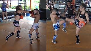 Девушка дерется  против парня! Что было дальше всех удивило! Muay Thai motivation!