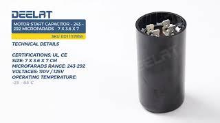 Motor Start Capacitor – 243 – 292 Microfarads - 7 x 3.6 x 7