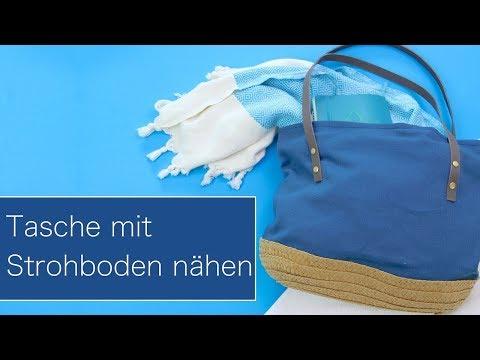 Korbtasche nähen für den Strand | Korbboden und Lederriemen