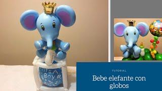 Elefante Con Globos Para Baby Shower O Cumpleaños - Baby Elephant - Decoracion Con Globos