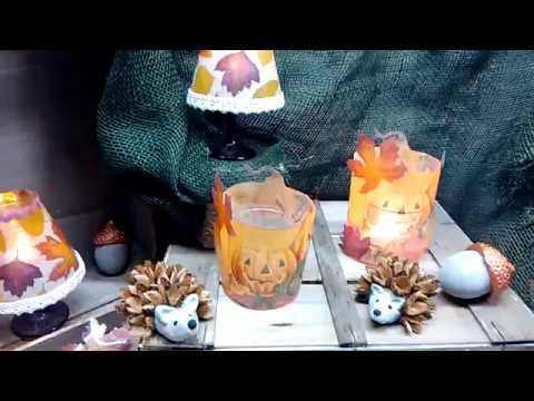 Windlicht /Lampenschirm mit Serviette und Laminierfolie