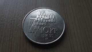 10 KR coin of Norway from 1995 - The Norwegian krone in HD