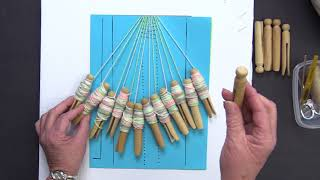 Bobbin Lace DIY Kit With Yarn And Clothes Pins For Bobbins