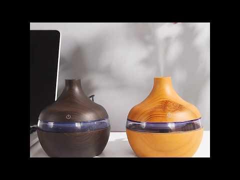 Мини-увлажнитель воздуха аромадиффузер с ЛЕД подсветкой 300 мл WoodAir белое дерево (UV-39348) Video #1