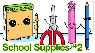 How to Draw Back to School Supplies #2 Cute and Easy step by step