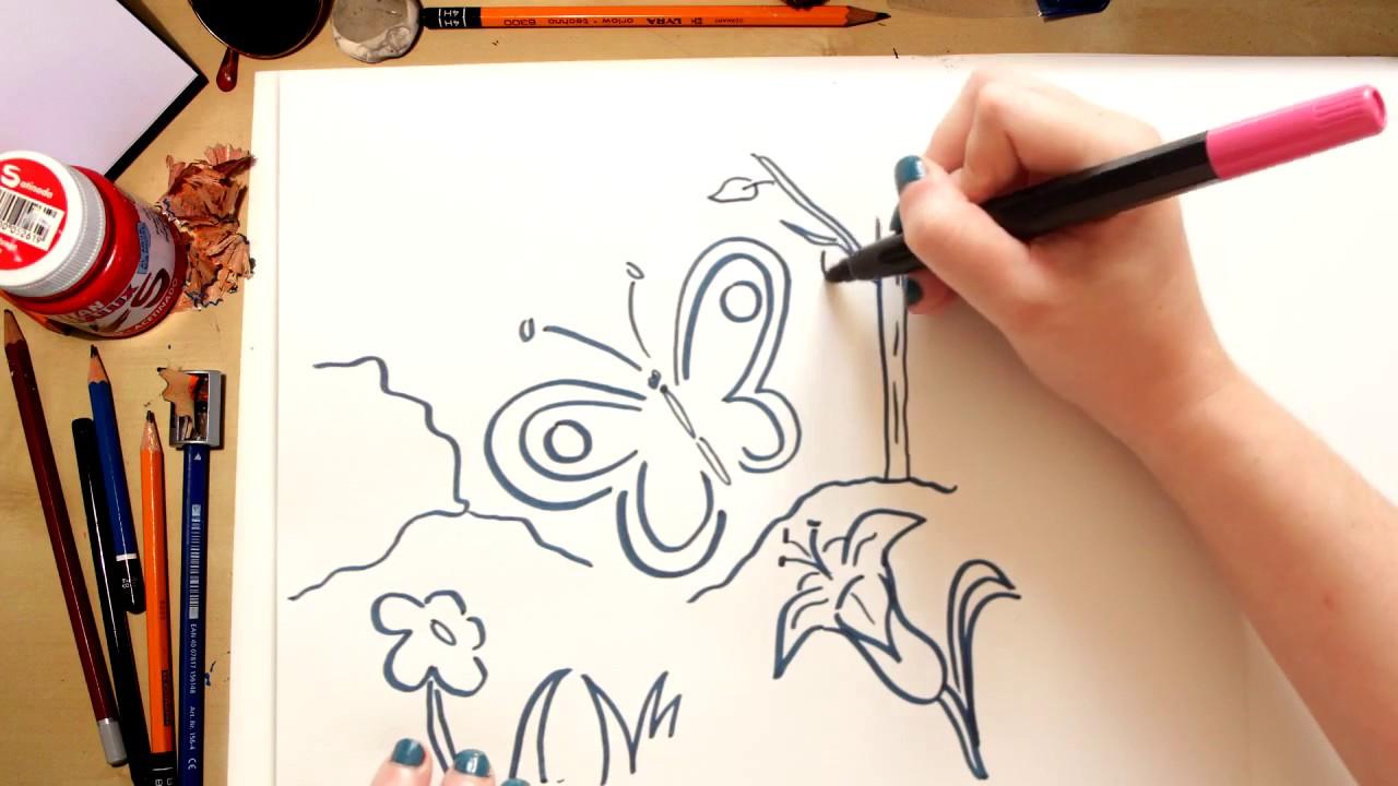 Como desenhar uma Borboleta - desenhos para crianças