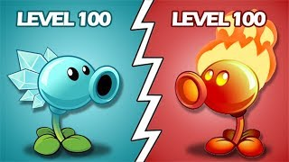 Plants Vs Zombies 2 Hielaguisantes Nivel 100 Vs Lanzaguisantes De Fuego Nivel 100