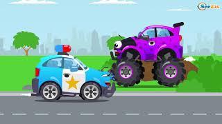 Tubidy Iowheelcity   Police Car   Monster Truck   Car Vehicles New Cartoon   Kids   Compilation