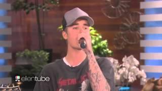 """Justin Bieber singing """"Sorry"""" acoustic @ The Ellen Show. (November 2015)"""