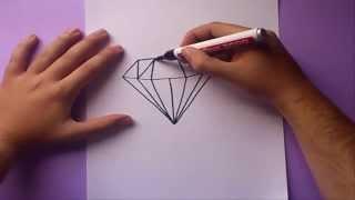 Como Dibujar Un Diamante Paso A Paso | How To Draw A Diamond