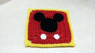 Crochet Mickey Mouse Granny Square TUTORIAL #160 Bagoday Crochet