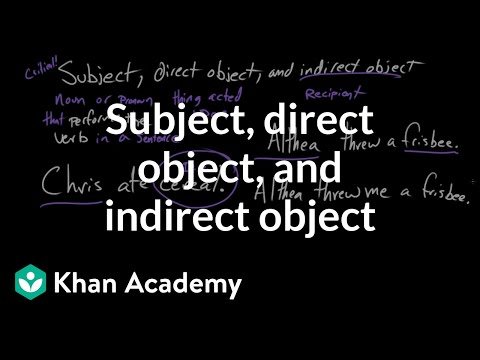 Subject Direct Object And Indirect Object Video Khan Academy