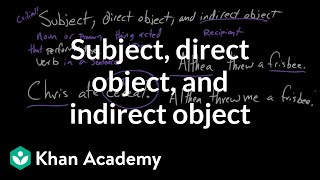 Subject, direct object, and indirect object   Syntax   Khan Academy